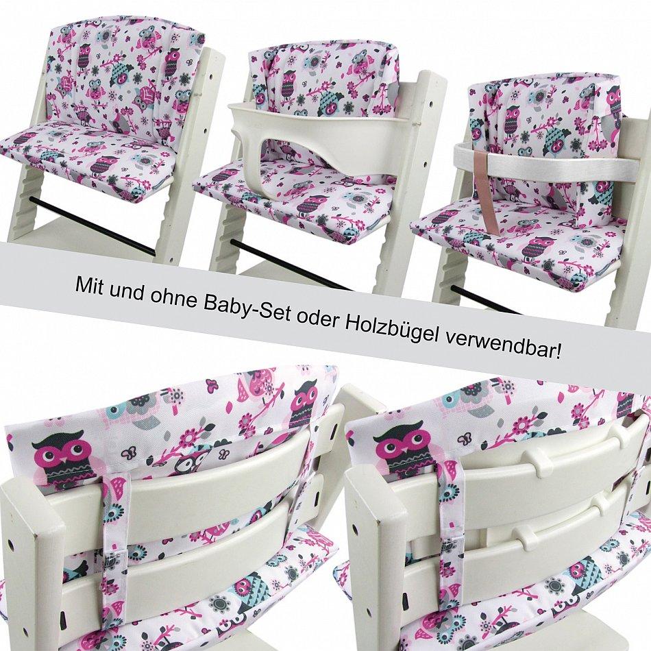 bambiniwelt sitzkissenset ersatzbezug sitzverkleinerer tripp trapp eulen design ebay. Black Bedroom Furniture Sets. Home Design Ideas