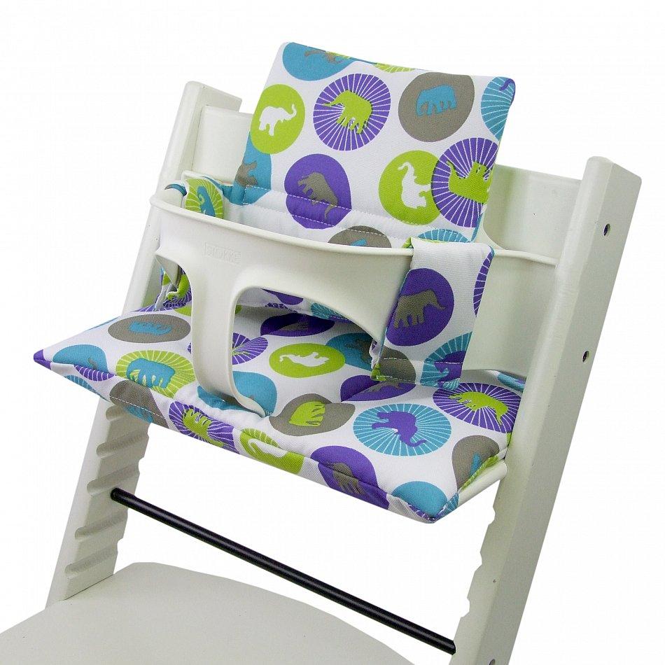bambiniwelt sitzkissen ersatzbezug stokke tripp trapp gr ne elefanten ebay. Black Bedroom Furniture Sets. Home Design Ideas
