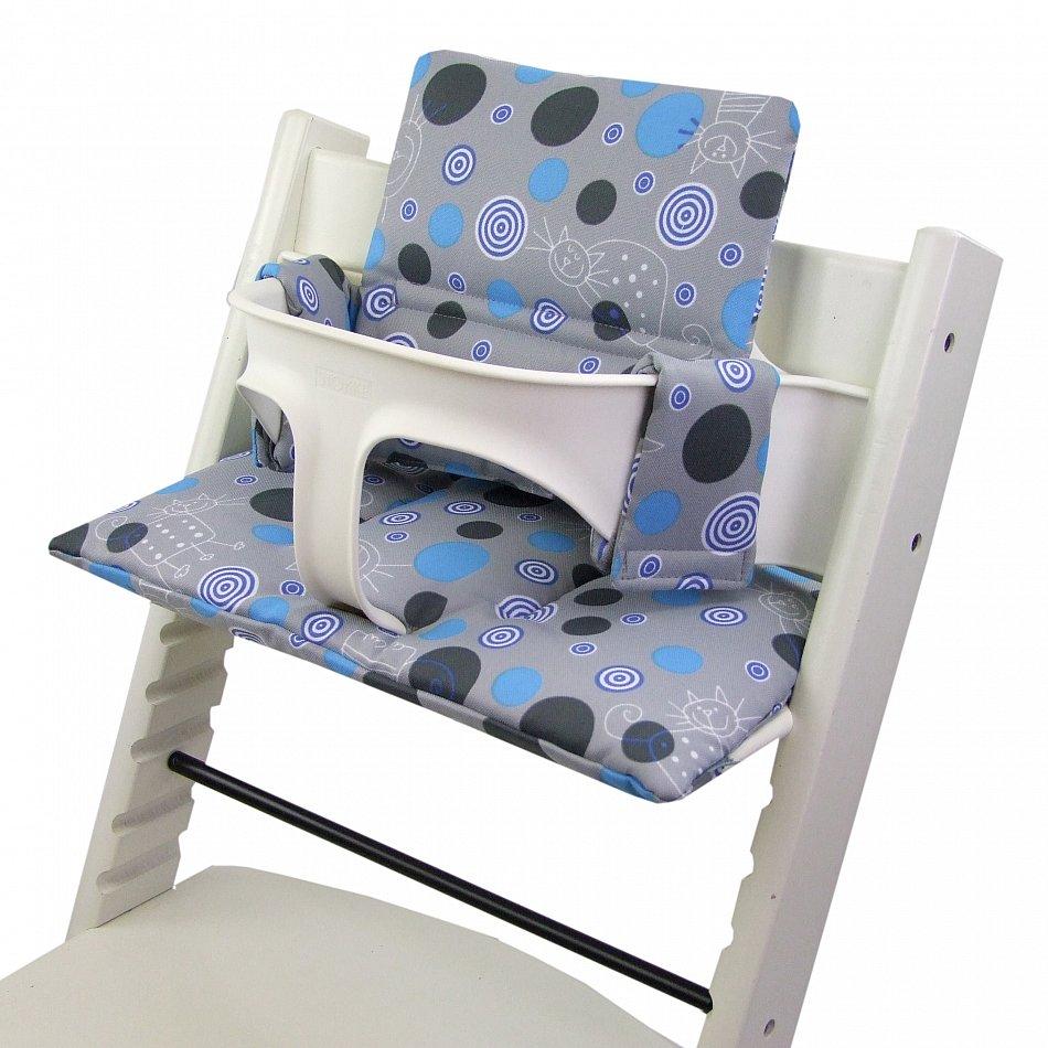 bambiniwelt sitzkissen ersatzbezug stokke tripp trapp grau blau katze. Black Bedroom Furniture Sets. Home Design Ideas