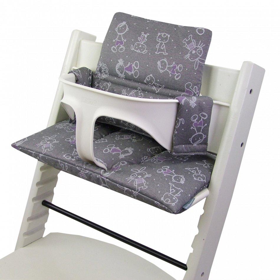 bambiniwelt sitzkissen ersatzbezug stokke tripp trapp hochstuhl grau figuren ebay. Black Bedroom Furniture Sets. Home Design Ideas