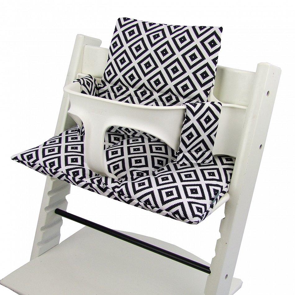 bambiniwelt sitzkissen ersatzbezug stokke tripp trapp karo schwarz weiss ebay. Black Bedroom Furniture Sets. Home Design Ideas