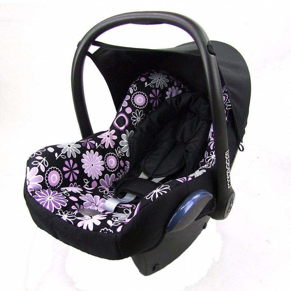 bambiniwelt ersatzbezug 6tlg maxi cosi cabriofix babyschale schwarz lila blumen ebay. Black Bedroom Furniture Sets. Home Design Ideas