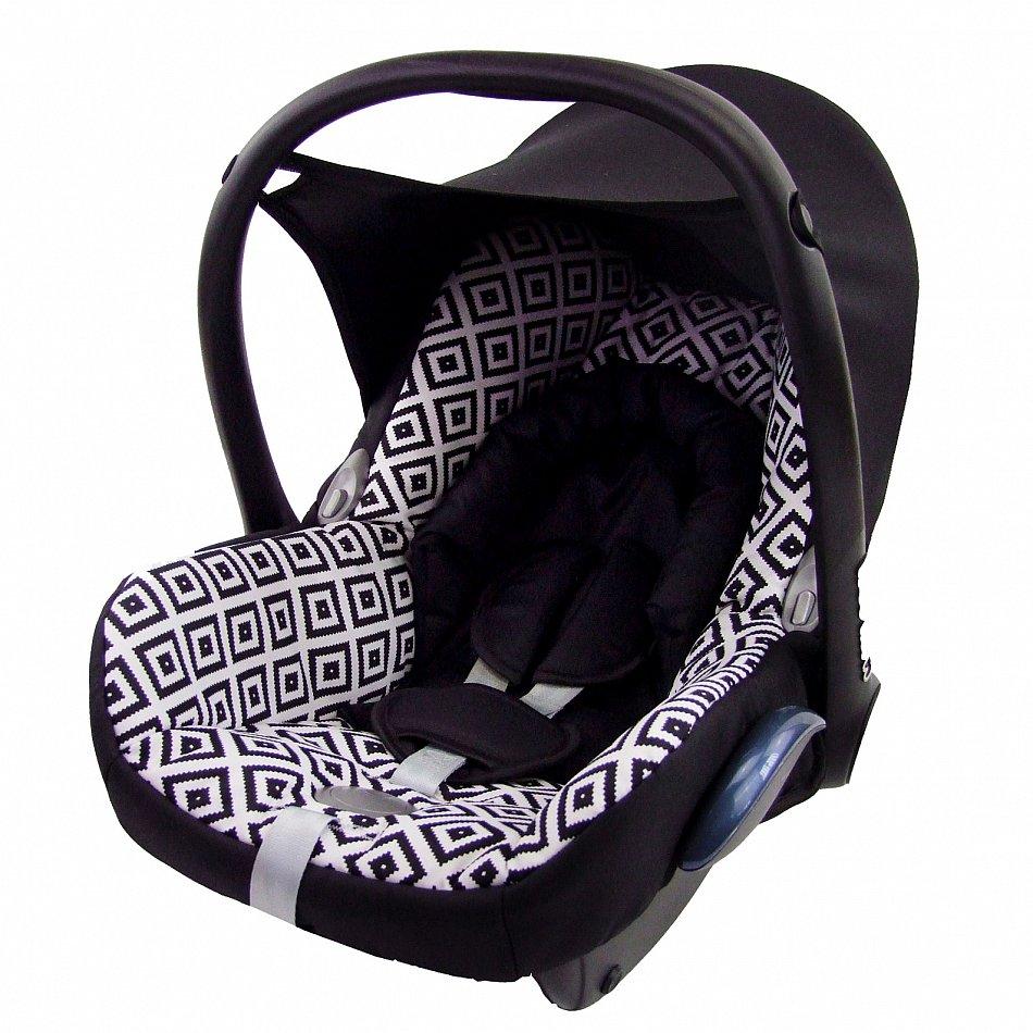 bambiniwelt ersatzbezug 6tlg maxi cosi cabriofix baby schwarz weisse karos ebay. Black Bedroom Furniture Sets. Home Design Ideas