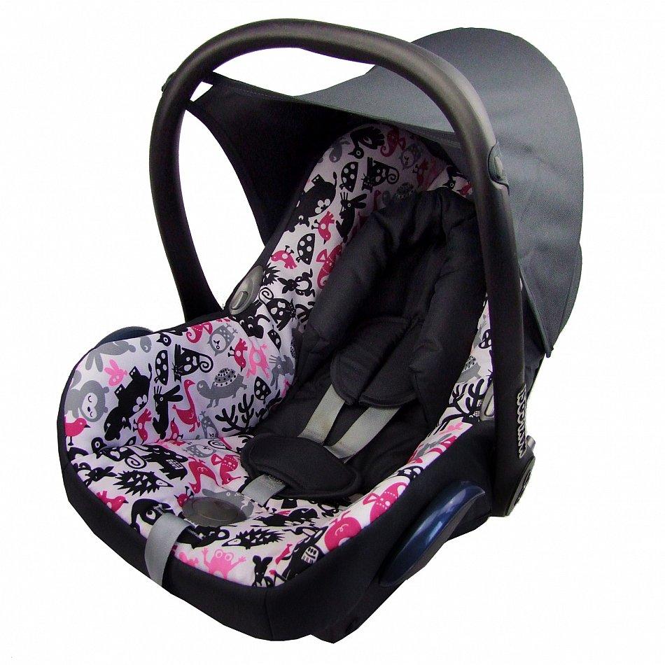 bambiniwelt ersatzbezug 6tlg maxi cosi cabriofix babyschale schwarz pinke tiere ebay. Black Bedroom Furniture Sets. Home Design Ideas