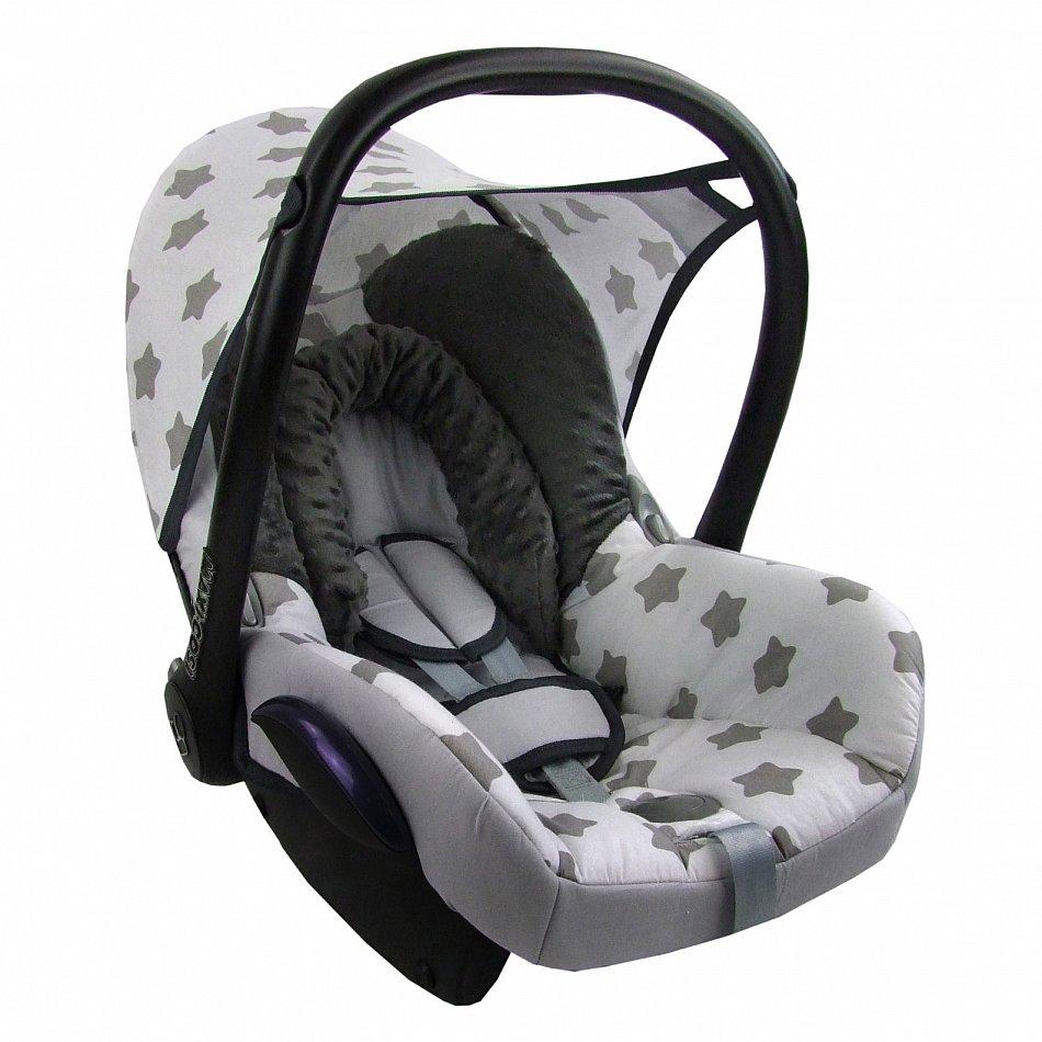 bambiniwelt ersatzbezug baby maxi cosi cabriofix minky grau weiss gr sterne mb1 ebay. Black Bedroom Furniture Sets. Home Design Ideas