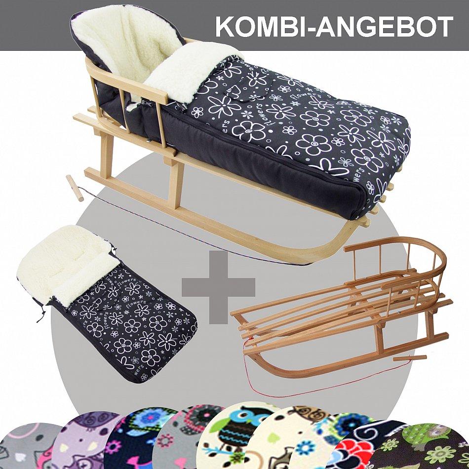 bambiniwelt holzschlitten mit winterfu sack 108cm jogger. Black Bedroom Furniture Sets. Home Design Ideas