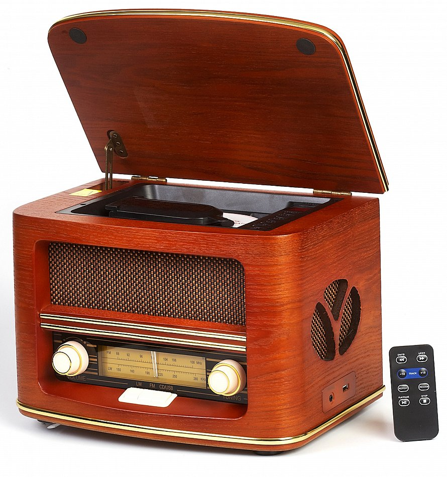 nostalgie retro holz radio mit cd usb player kompaktanlage vintage musikanlage ebay. Black Bedroom Furniture Sets. Home Design Ideas