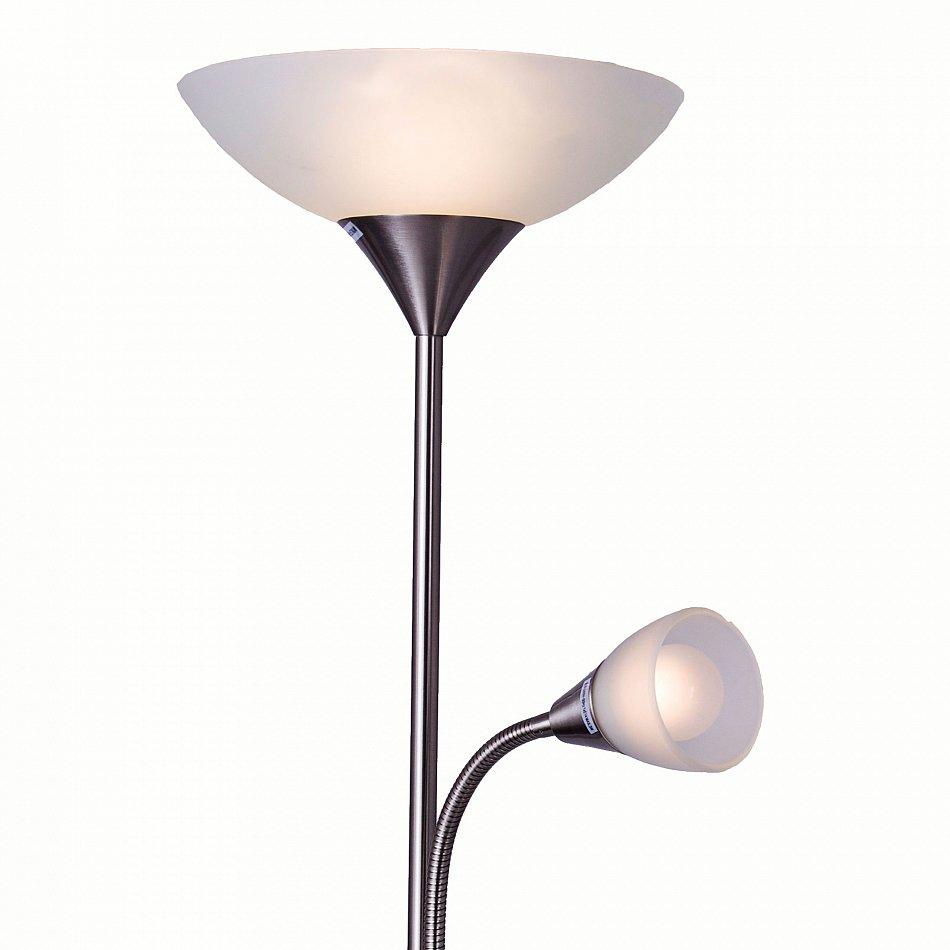 stehlampe mit 2 lampen stand leuchte led stehleuchte stand design lampe fluter ebay. Black Bedroom Furniture Sets. Home Design Ideas