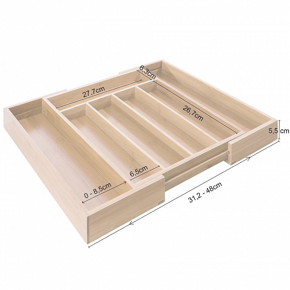 besteckkasten bambus holz besteckeinsatz schubladeneinsatz ausziehbar variabel 4260199759394 ebay. Black Bedroom Furniture Sets. Home Design Ideas