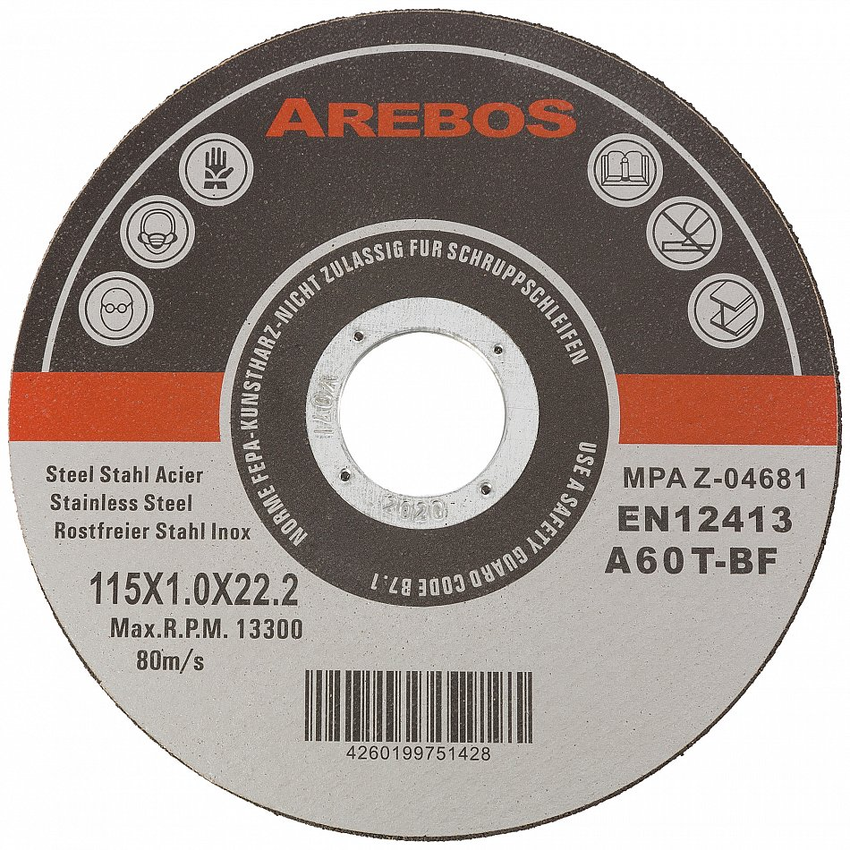 """Carbon Steel Grinding Company New Zealand: 50 X Metal Cutting Discs 1mm Ultra Thin 4 1/2"""" 115mm Angle"""