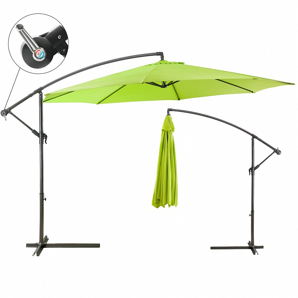 sonnenschirm ampelschirm pendelschirm kurbelschirm lime gr n 3 5m ebay. Black Bedroom Furniture Sets. Home Design Ideas