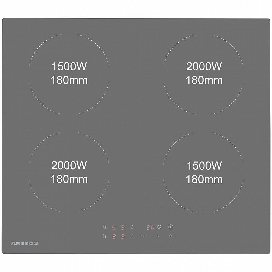 AREBOS Induktionskochfeld Ceran Induktion Glaskeramik 4 Zonen Kochplatten Autark