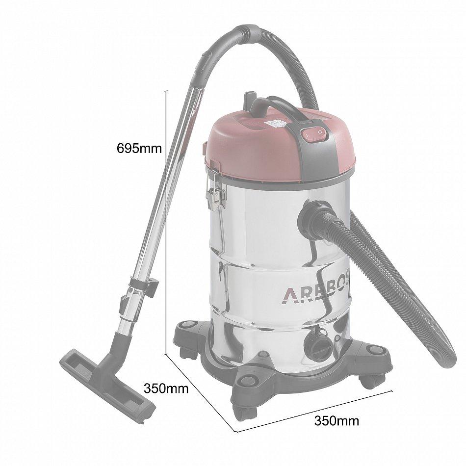 colore: Rosso Arebos 30 l Aspirapolvere industriale a umido e a secco 2300 W