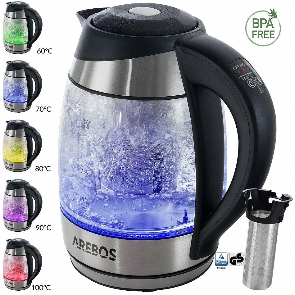Edelstahl Wasserkocher mit LED Warmhalte Überhitzungsschutz 2200w 1,7 L NEU DE